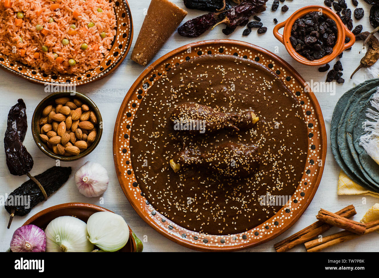 Mole Mexicano, Poblano mole ingredients, mexican spicy food traditional in Mexico Stock Photo