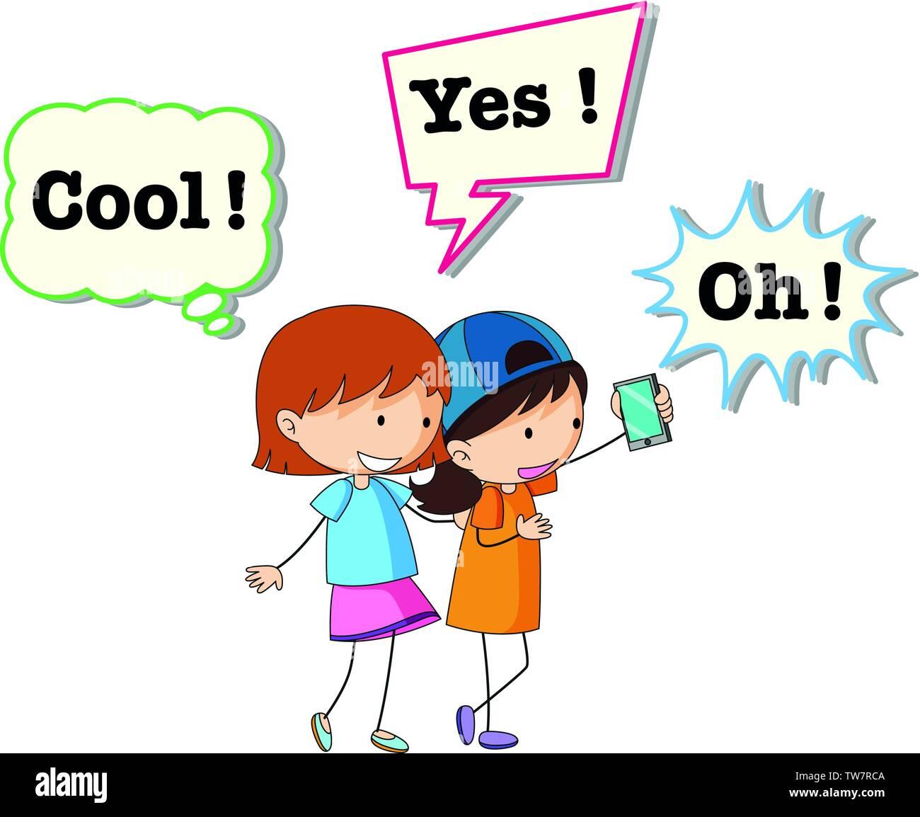 Girl and speech balloon illustration - Stock Image
