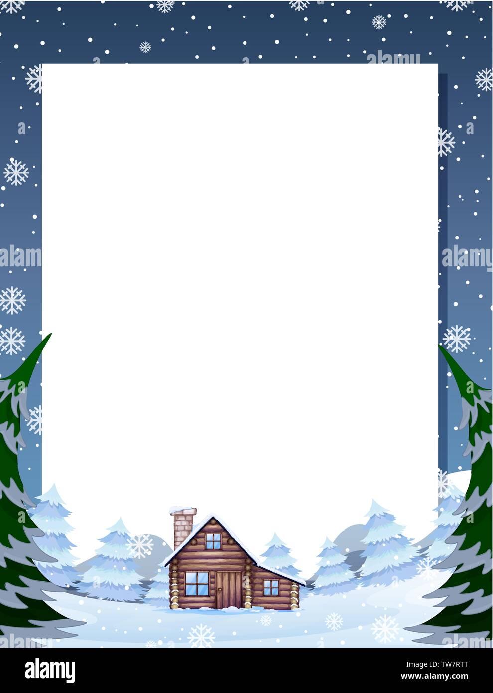 Winter cabin note template illustration - Stock Vector