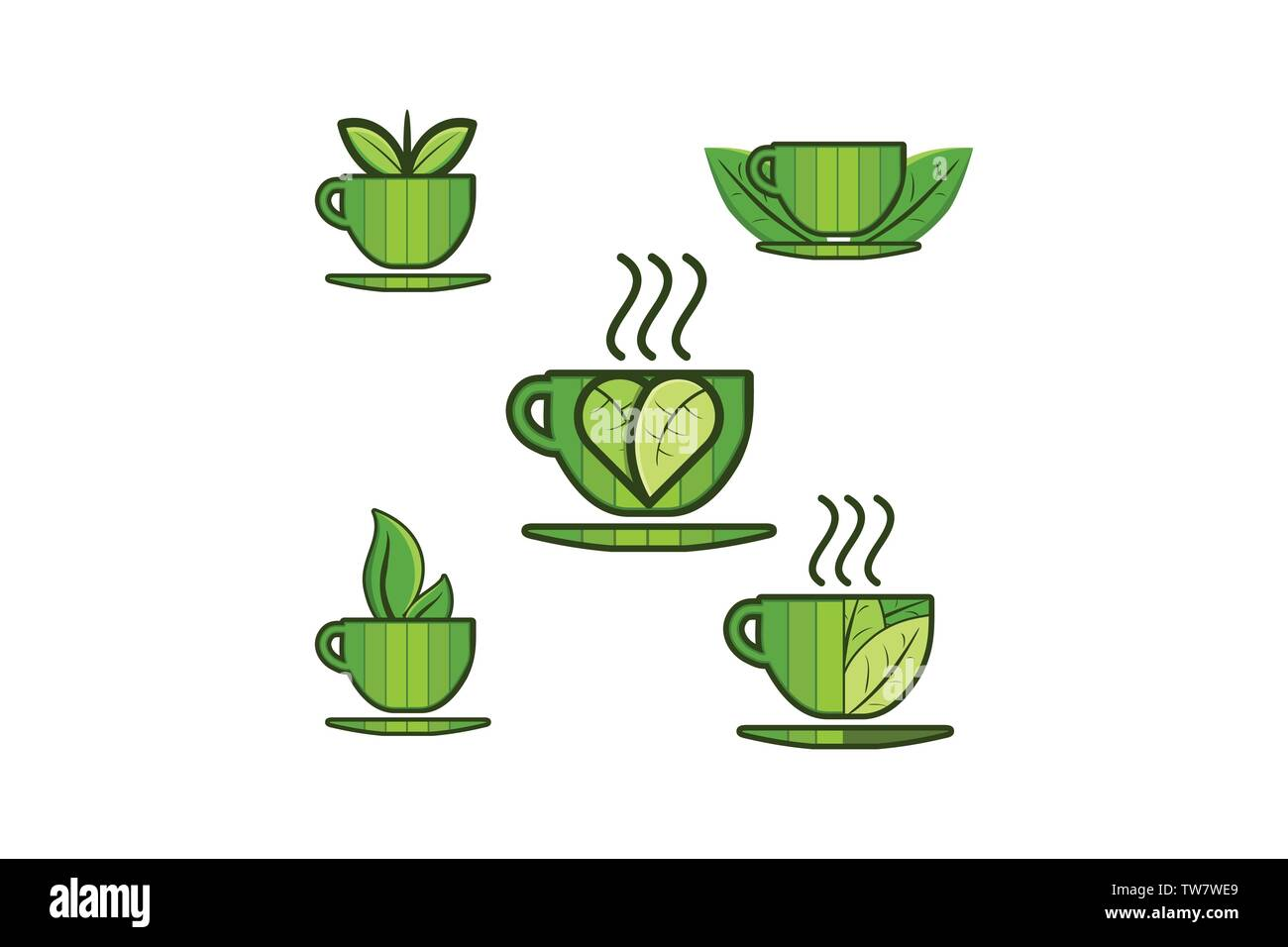 set mug jar cup leaf logo designs inspiration isolated on white background stock vector image art alamy alamy