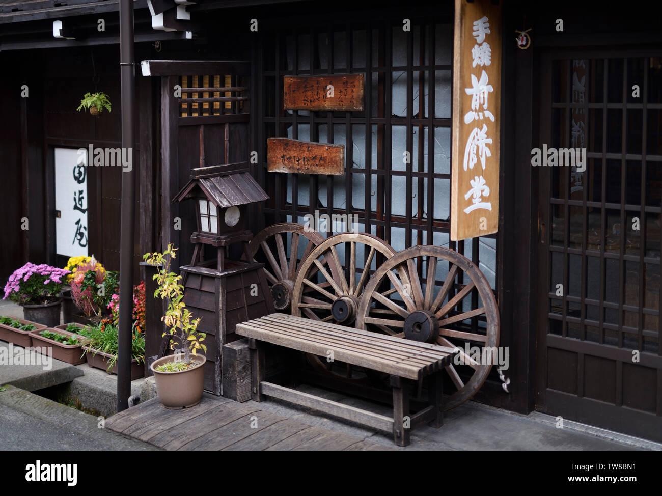 Beautifully decorated historic traditional houses at Takayama old town street. Japan, Takayama - Stock Image