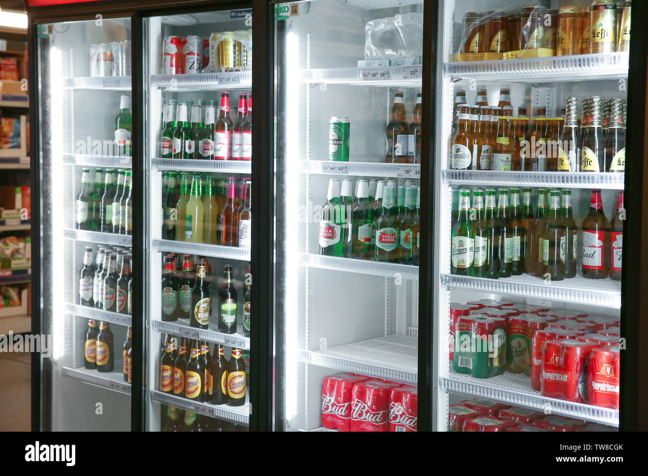 MYKOLAIV, UKRAINE - October 31, 2017: Refrigerators with popular alcohol drinks in hypermarket METRO - Stock Image