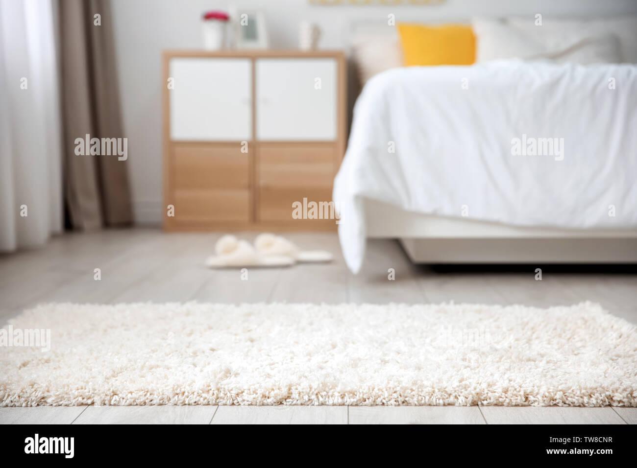 Soft White Carpet On Floor In Bedroom Stock Photo Alamy
