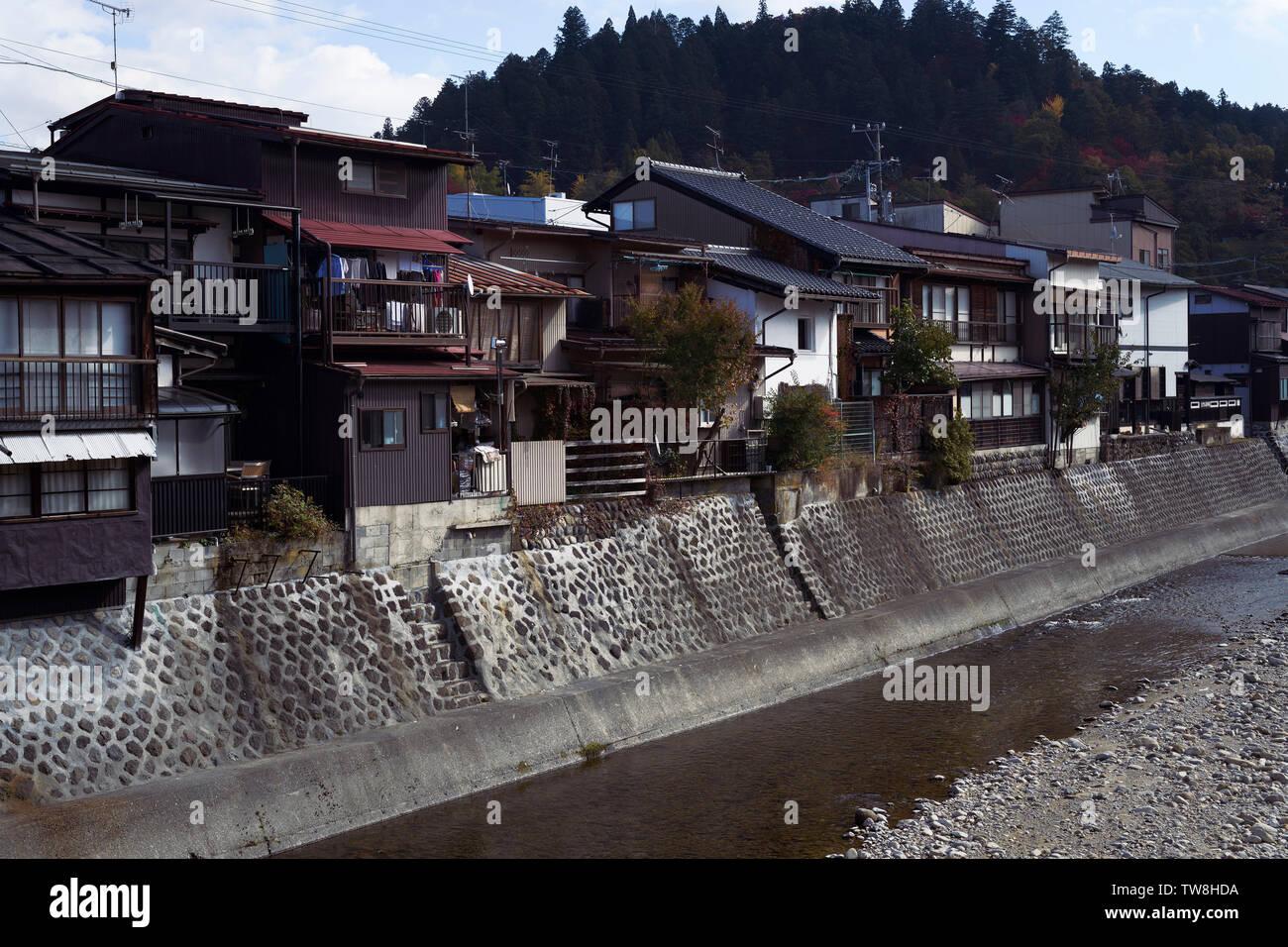 Houses on a bank of Miyagawa river, Takayama city scenery. Hida-Takayama, Gifu prefecture, Japan 2018. - Stock Image