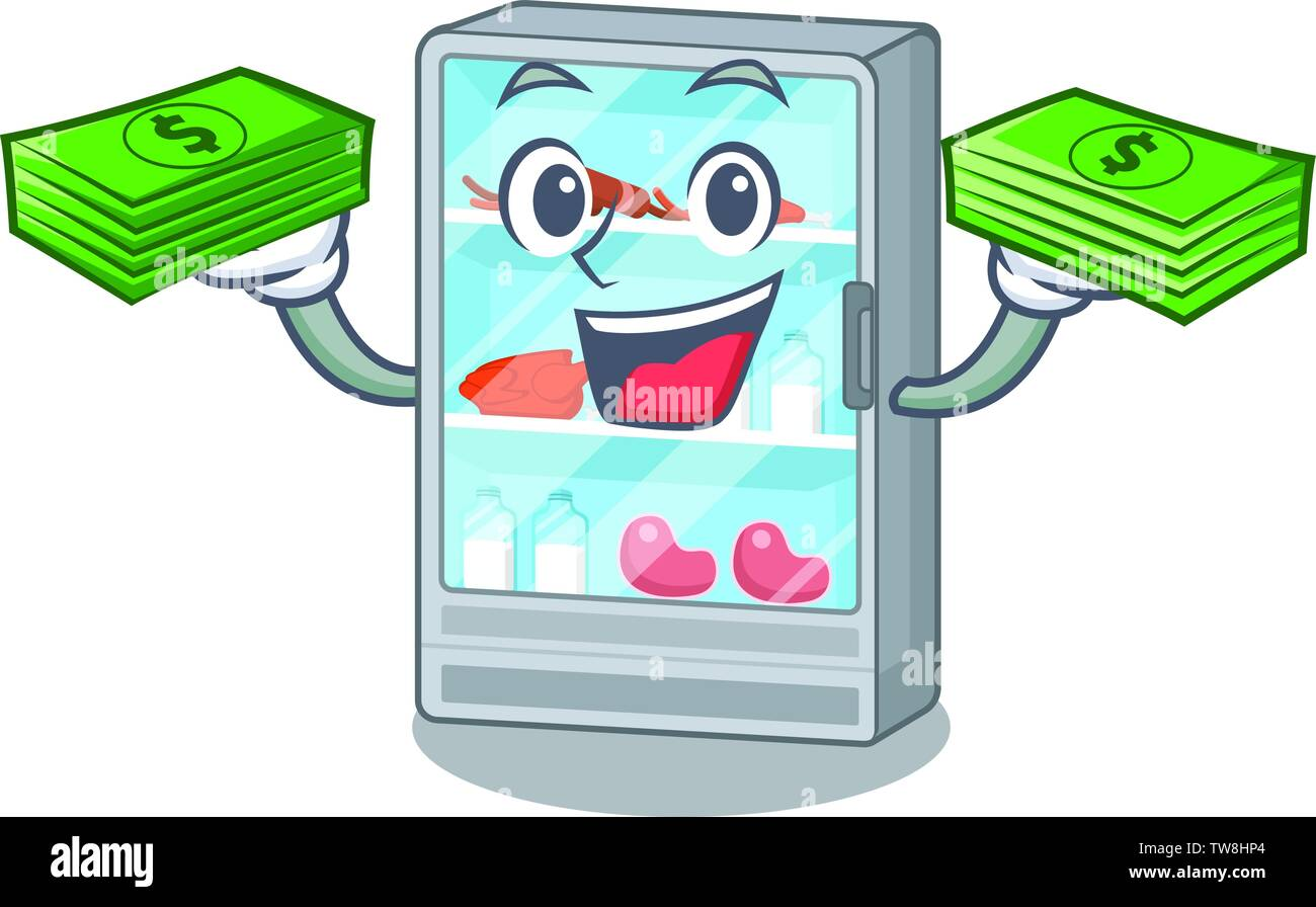 With money bag refrigerator in the a cartoon shape - Stock Image