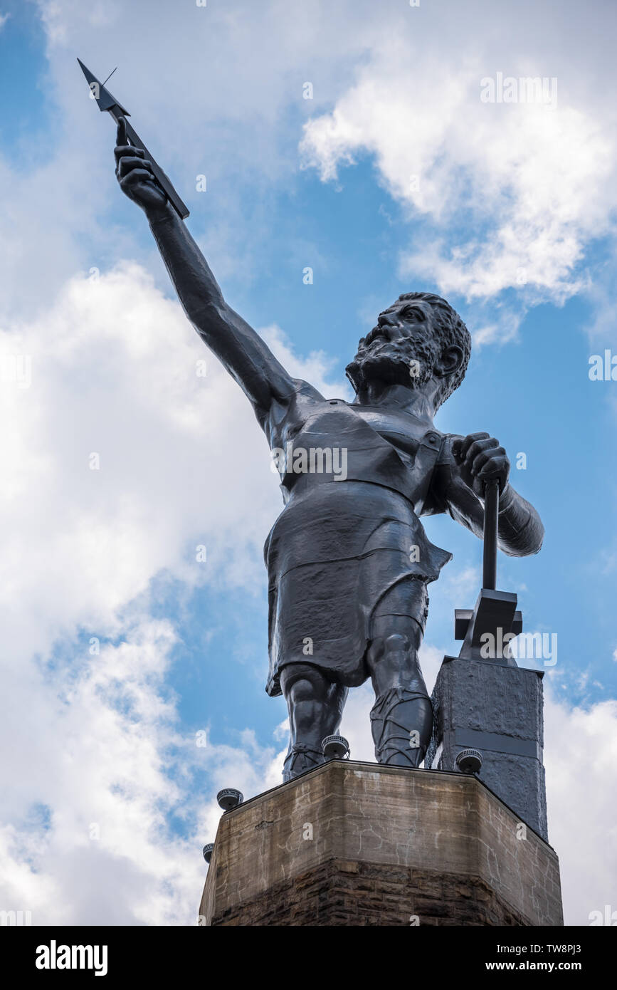 The Vulcan statue, the largest cast iron statue in the world, overlooks the city of Birmingham, Alabama, from atop Red Mountain. (USA) Stock Photo
