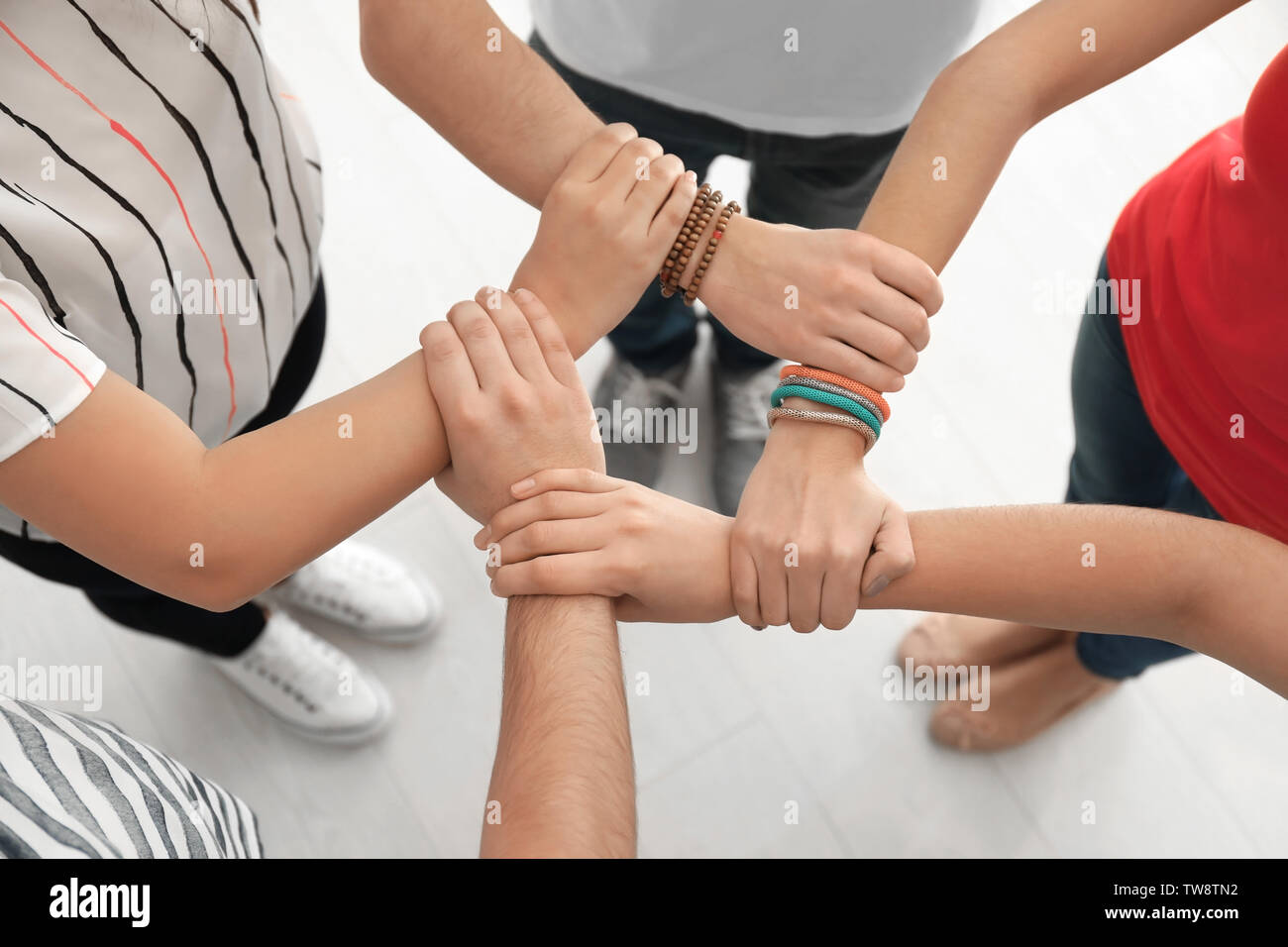 People Holding Hands Together As Symbol Of Unity Stock Photo 256506574 Alamy