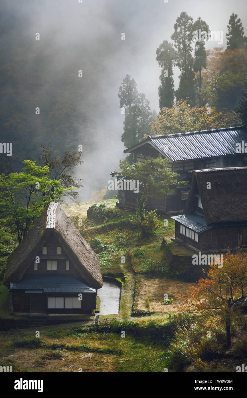Atmospheric aerial scenery of Ainokura, Japanese mountain village Gassho style rural houses on a misty morning. Ainokura, Toyama prefecture, Japan 201 Stock Photo