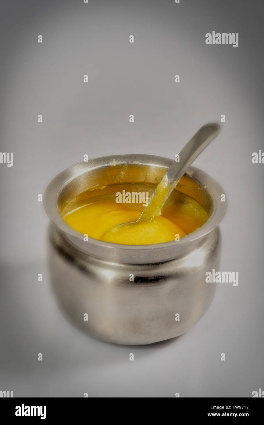 10 Dec 2008 Kitchen things-FOOD- Pure cow ghee aloe good for ayurveda-Mumbai Maharashtra INDIA - Stock Image