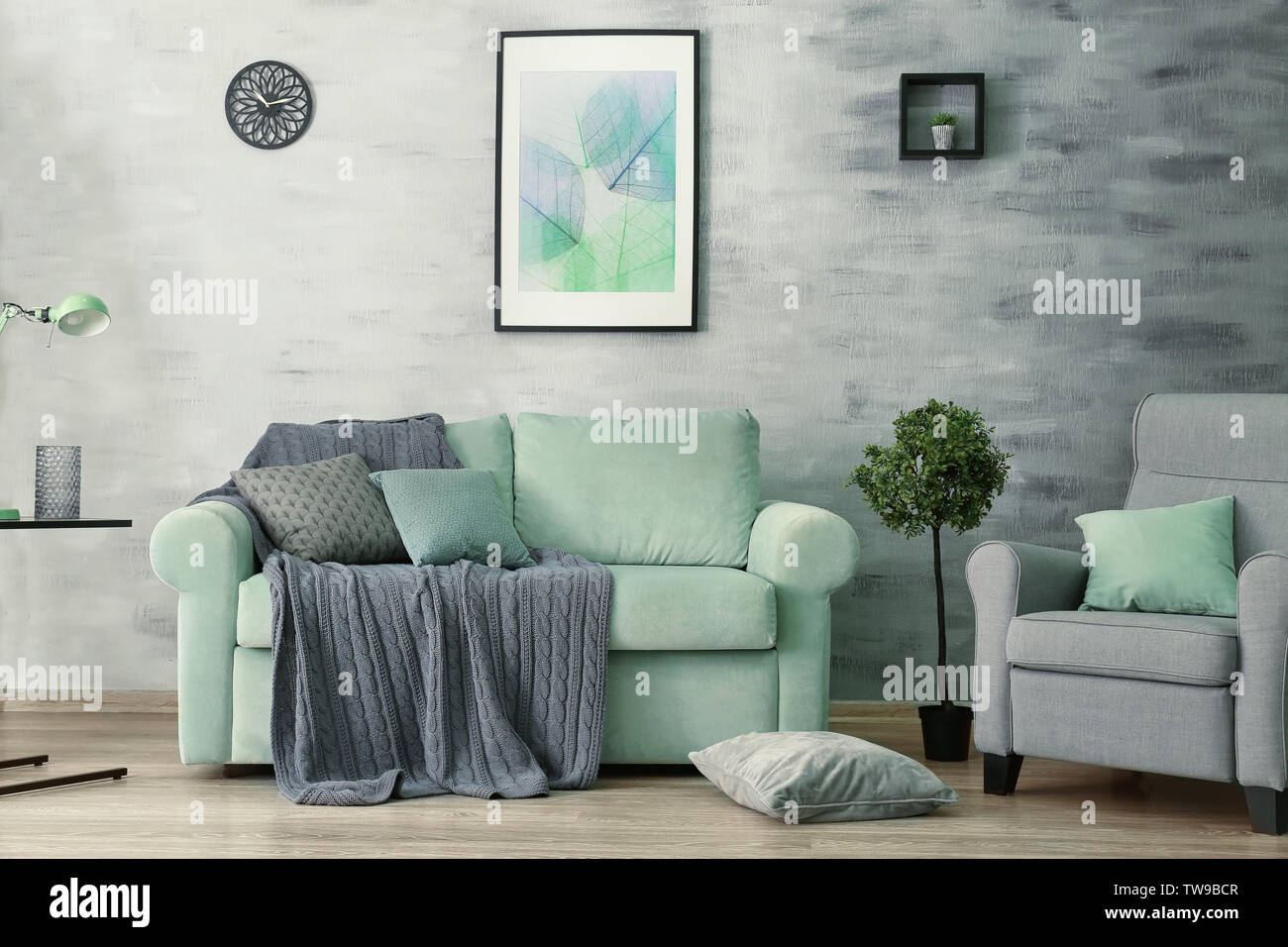 Living Room Interior With Comfortable Mint Couch Stock Photo Alamy