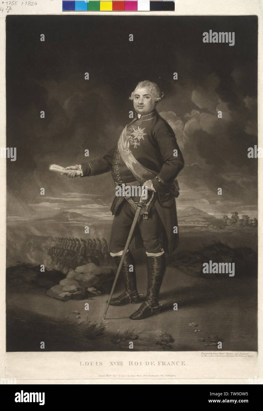 Louis XVIII, King of France, mezzotint by James becoming, Additional-Rights-Clearance-Info-Not-Available Stock Photo