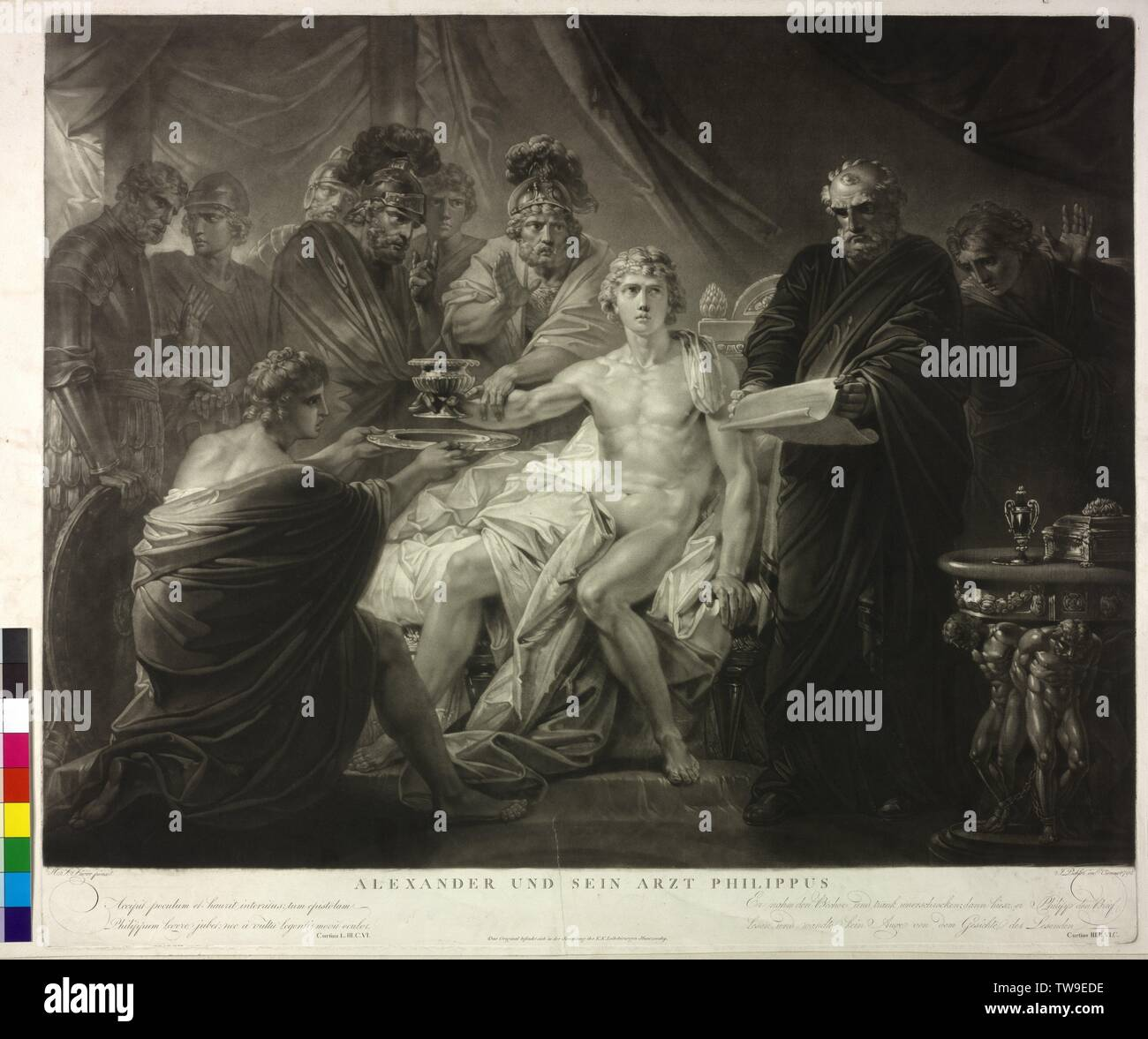 Alexander the Great and his physician Philip. mezzotint by Johann Peter Pichler based on a painting by Henry Frederick Fueger. Vienna, 1792, Additional-Rights-Clearance-Info-Not-Available Stock Photo