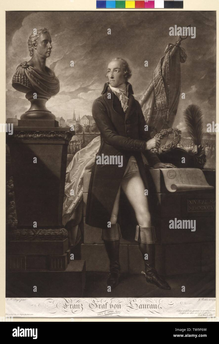 Franz count von Saurau, the 17th April, 1797, picture with laurel wreath and the cue to the education a public posse comitatus (4.4.1797), next to a bust of Emperor Franz II in the afterimage flag, troops and the Viennese inner city. mezzotint by Johann Peter Pichler based on a painting by Henry Frederick Fueger, script von Christian Junker, Additional-Rights-Clearance-Info-Not-Available Stock Photo