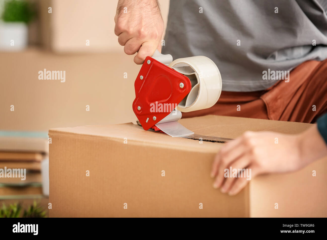 Young couple packing moving box, closeup - Stock Image