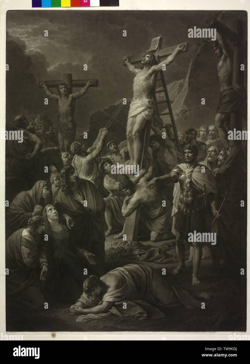 crucifixion Christi, raising of the cross. mezzotint by Vinzenz Georg Kininger based on a painting by Henry Frederick Fueger, designate and dated 1832, Additional-Rights-Clearance-Info-Not-Available Stock Photo