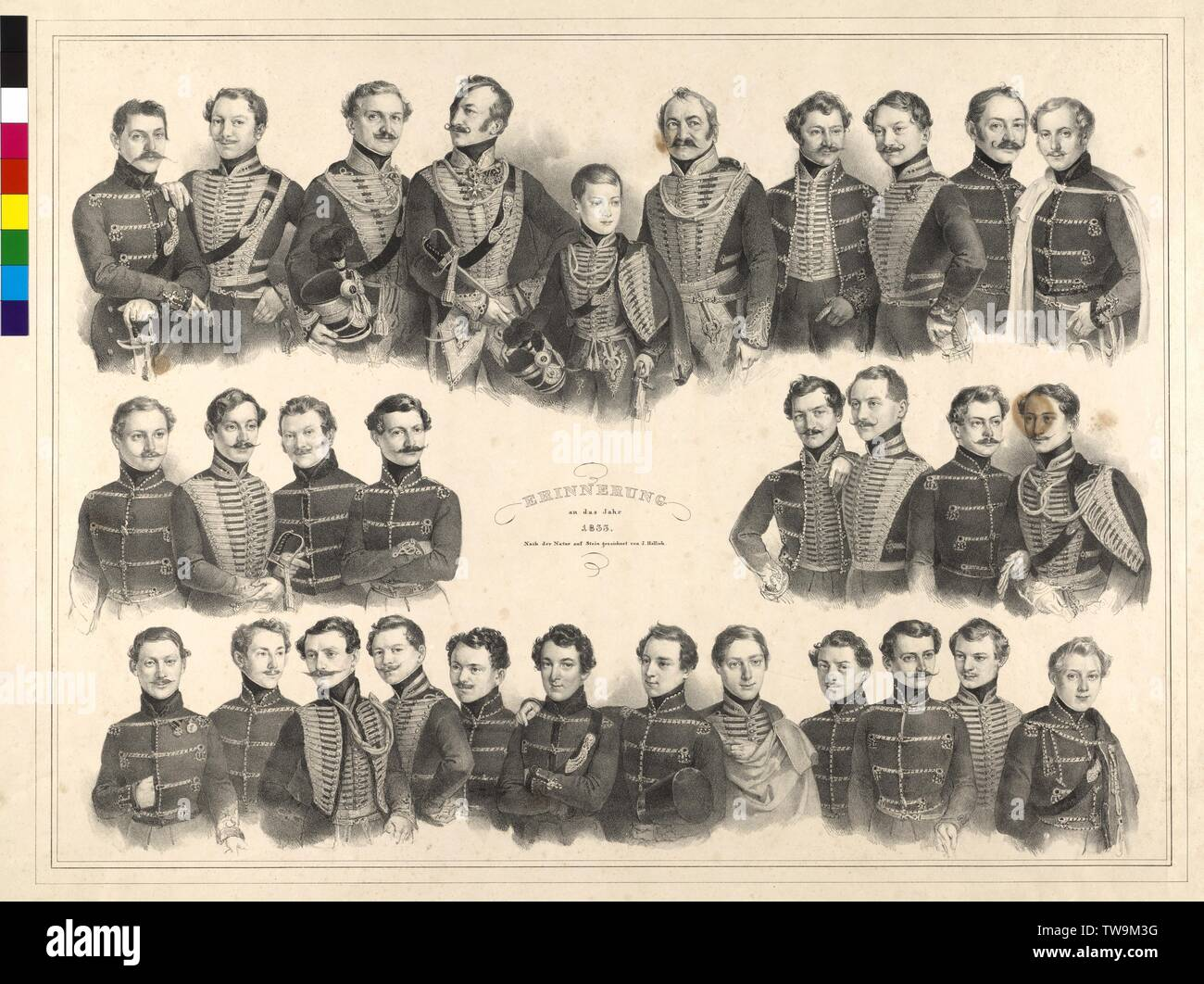 Remembrance on the year 1833, tableau with group images of officers of the Imperial and Royal regiment of hussars number 6: 30 individual, between of the 12-years-old Frederick, Archduke of Austria, lithograph by Joseph Adalbert Hellich name key page Pg III / 9 / 45a, Additional-Rights-Clearance-Info-Not-Available - Stock Image