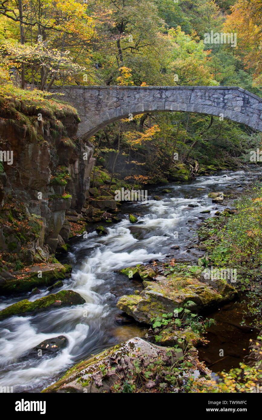 Bridge (Jungfernbruecke) over river Bode in autumn. Bode Gorge Nature Reserve, Saxony-Anhalt Germany - Stock Image