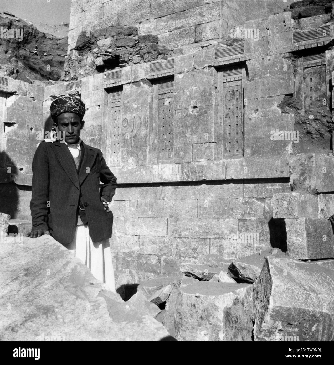 asia, yemen, marib, a wall of the first hall of the temple to the lunar god balmaka, 1955 - Stock Image