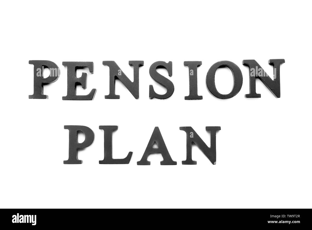Words 'Pension plan' on white background - Stock Image