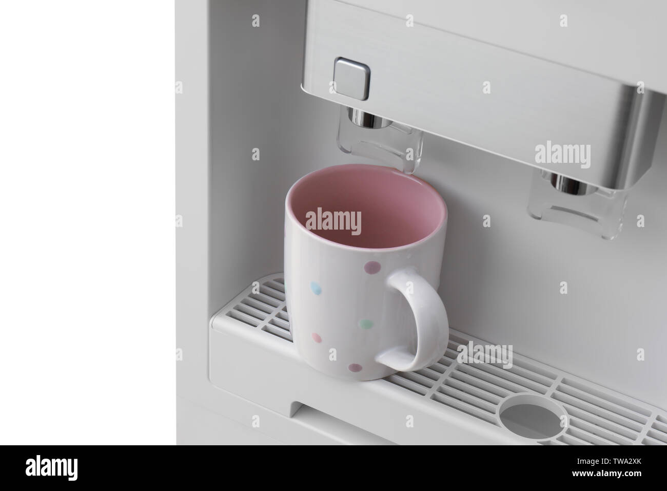 Office water cooler with cup, closeup - Stock Image