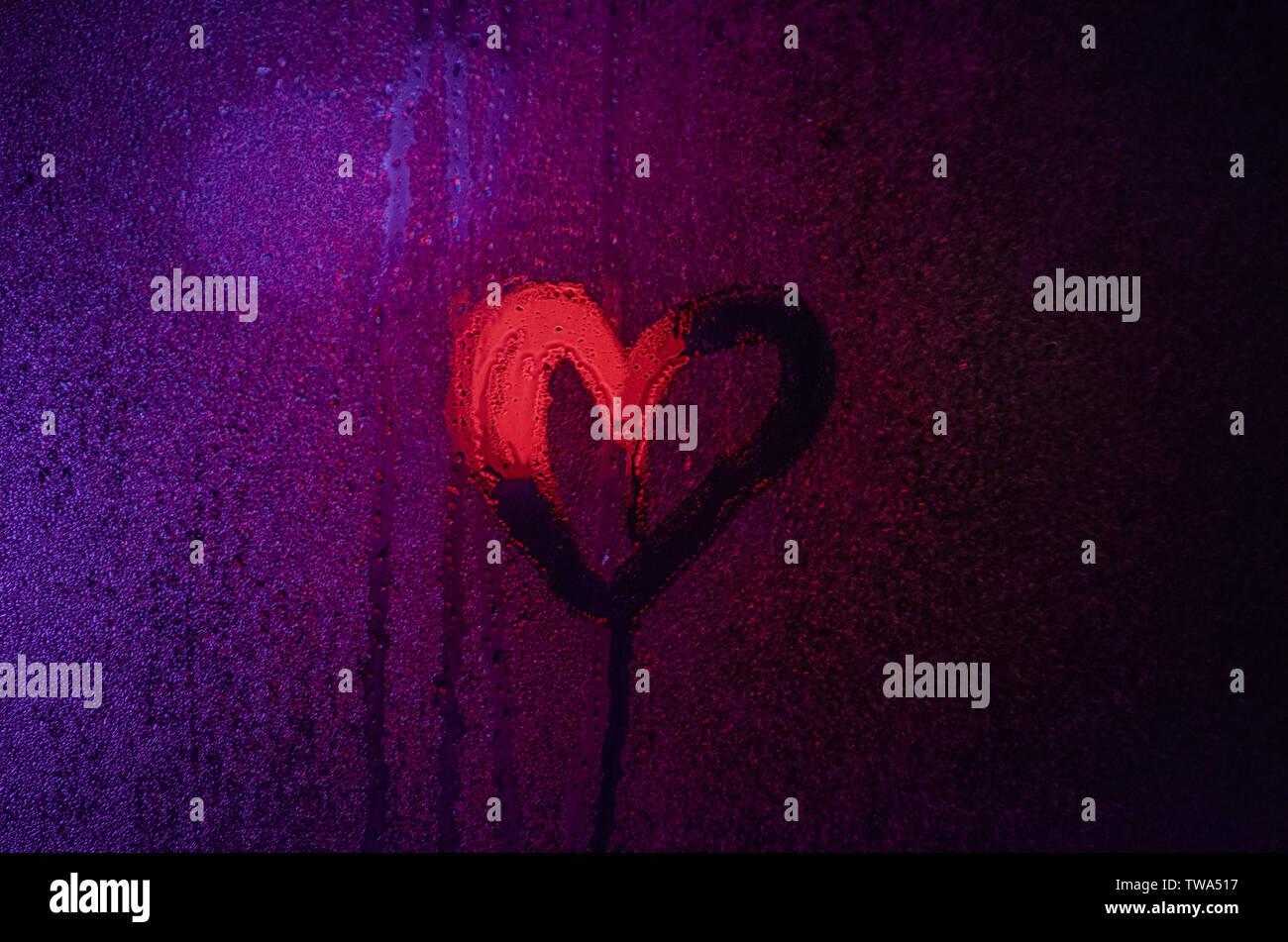 Herz auf Fenster - Stock Image