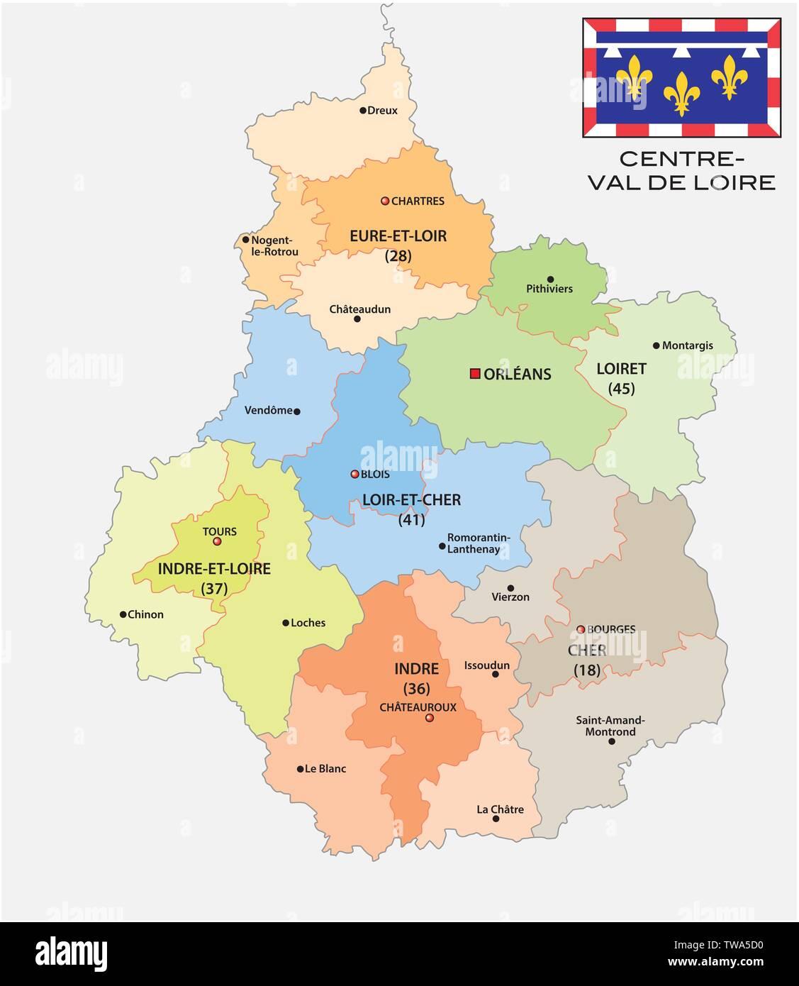 région centre val de loire carte administrative and political map of the region Centre Val de Loire