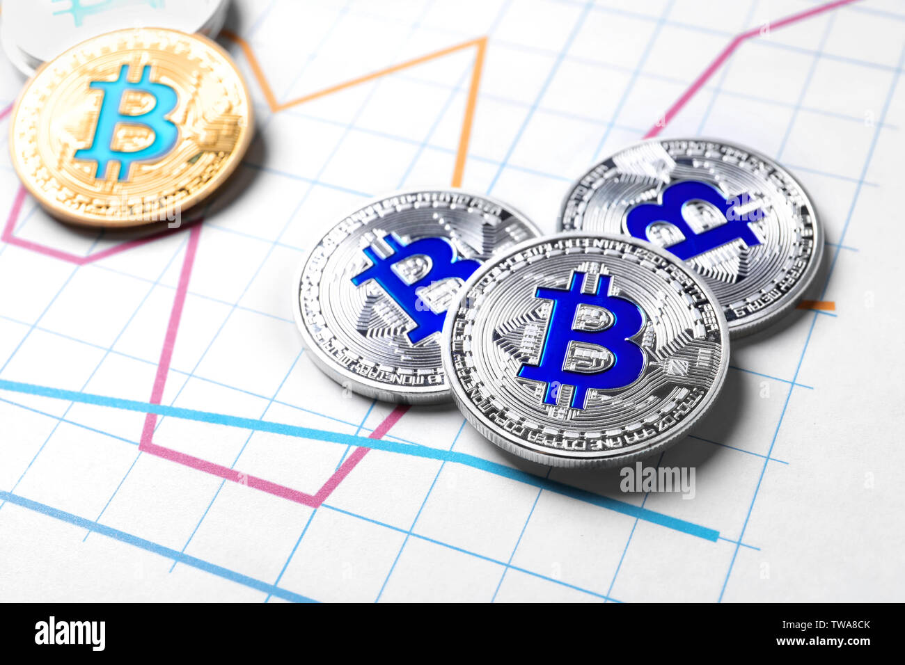 Golden and silver bitcoins on chart. Finance trading - Stock Image