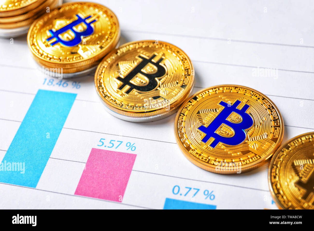Golden bitcoins on chart. Finance trading - Stock Image