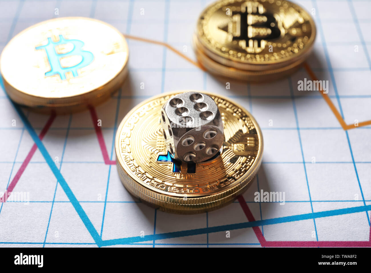 Golden bitcoins and dice on chart. Finance trading - Stock Image