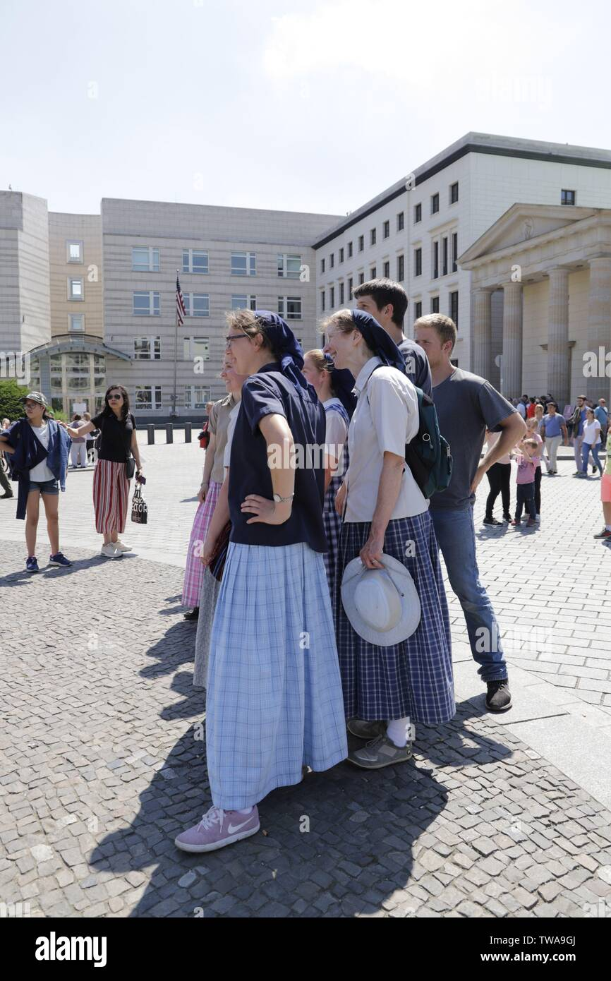 Amish people traveling in Berlin Germany Stock Photo