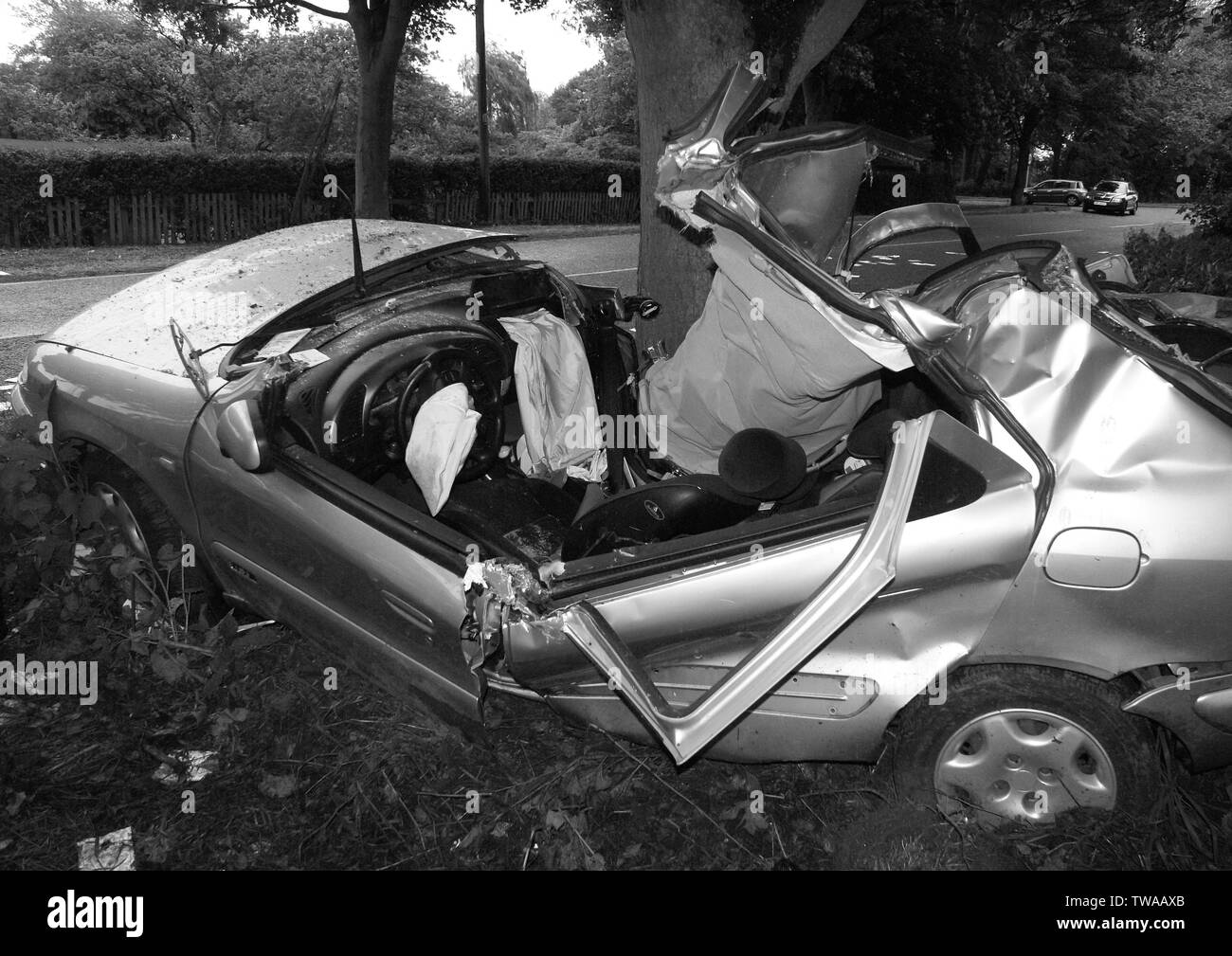 Car Crash Black and White Stock Photos & Images - Alamy