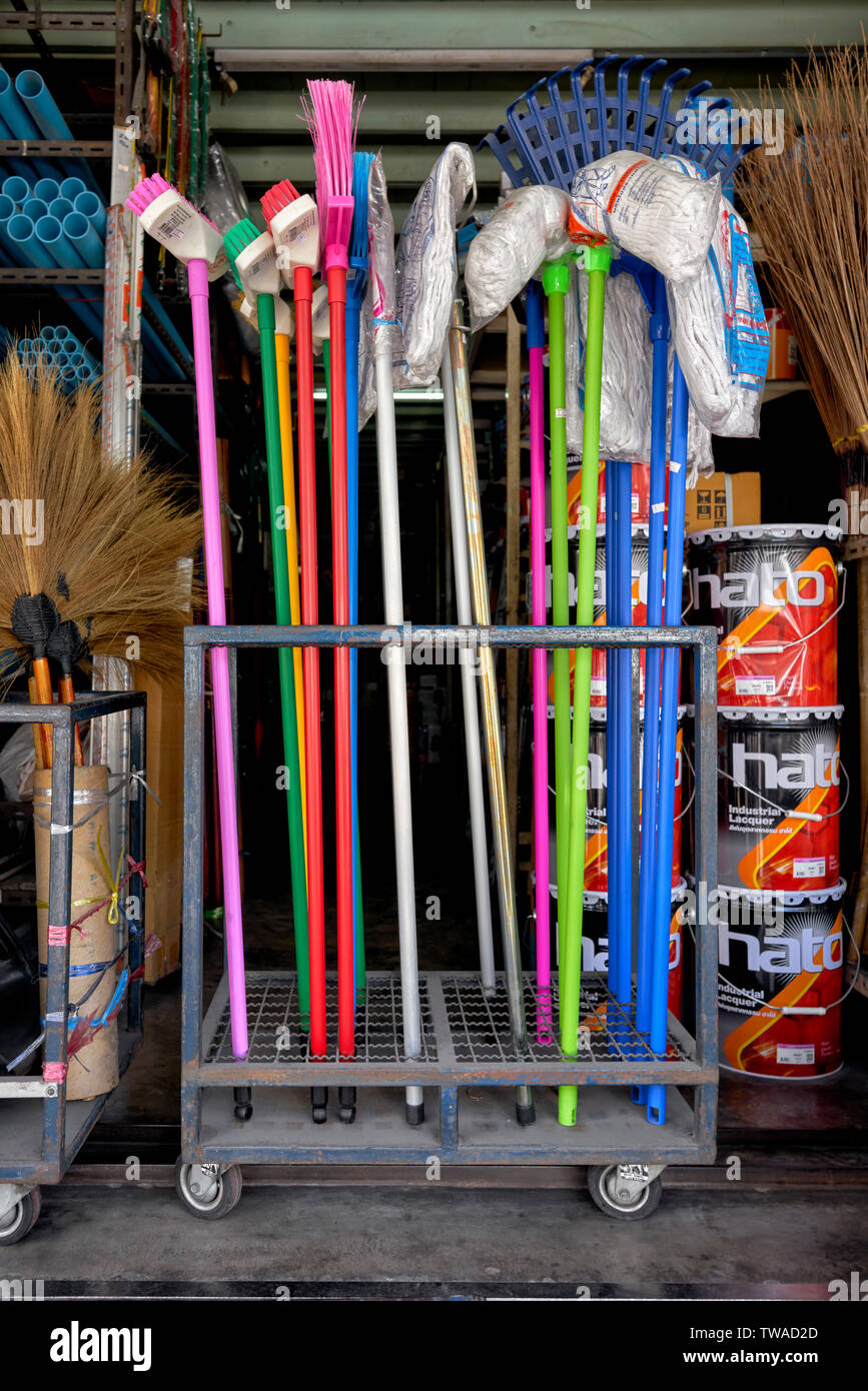 Hardware shop exterior and DIY items for sale - Stock Image