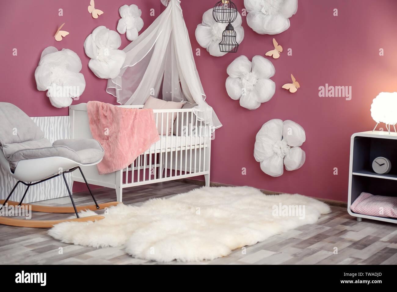 Interior of beautiful modern children\'s room with crib Stock ...