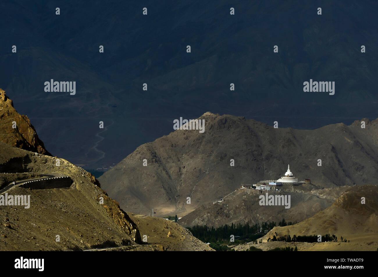 Shanti Stupa long shot, Buddhist white-domed stupa or chorten on a hilltop in Chanspa, Leh district, Ladakh, India. Stock Photo