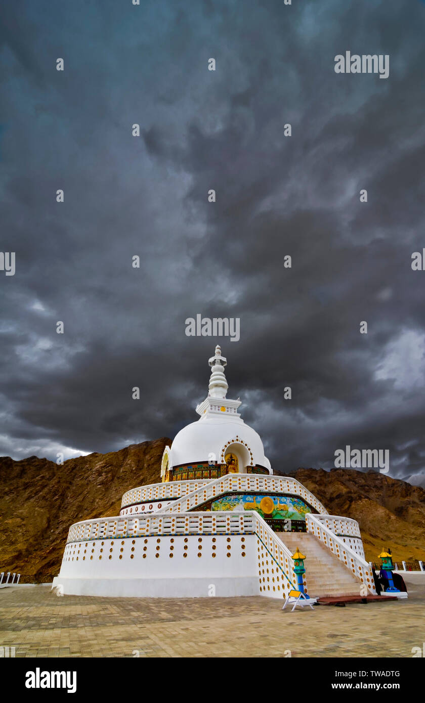 Shanti Stupa, Buddhist white-domed stupa  or chorten on a hilltop in Chanspa, Leh district, Ladakh, India. Stock Photo