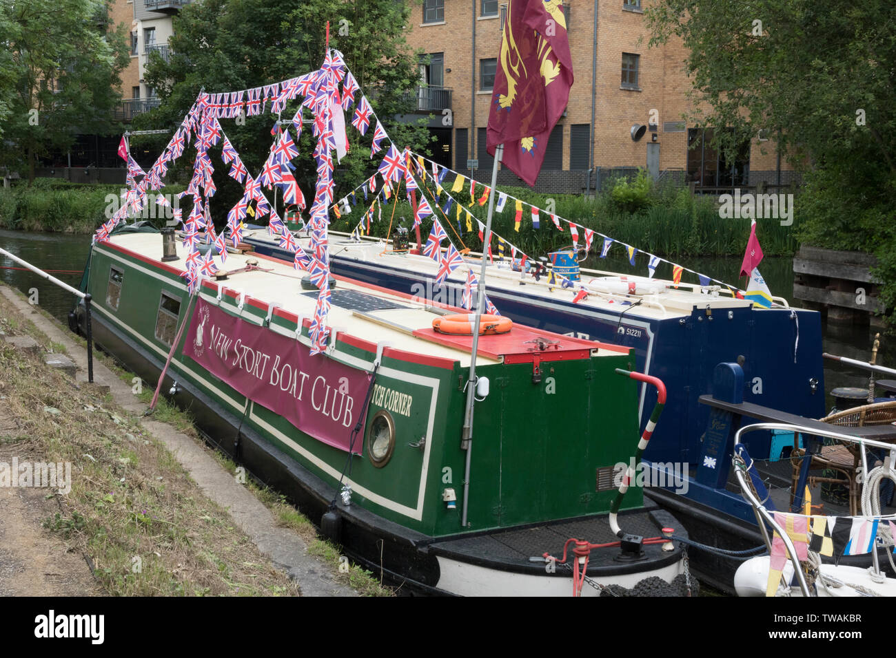 Narrow boats moored on the River Stort in Bishops Stortford, Hertfordshire Stock Photo