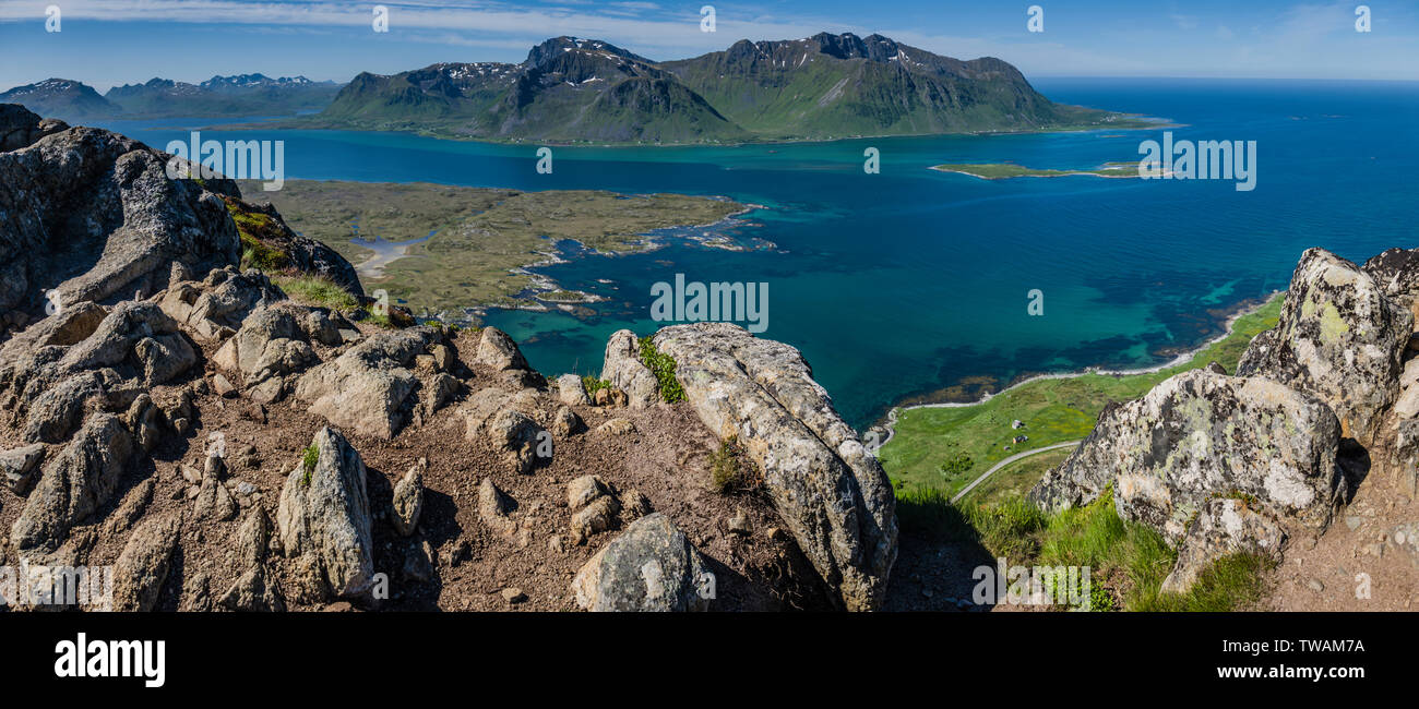 View from summit of Hoven, Gimsoya, Lofoten Islands, Norway. - Stock Image