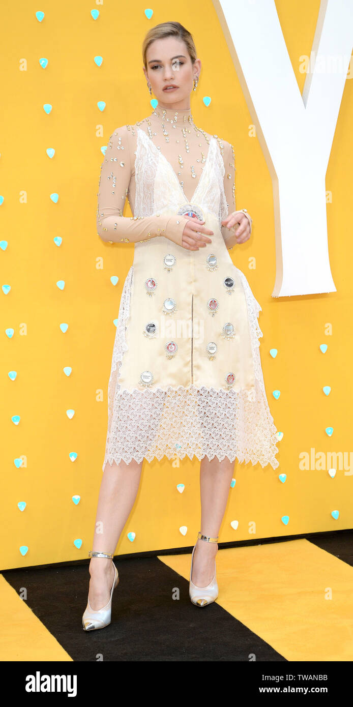 Photo Must Be Credited ©Alpha Press 078237 18/06/2019 Lily James at the Yesterday Premiere held at Odeon Luxe Leicester Square in London. - Stock Image