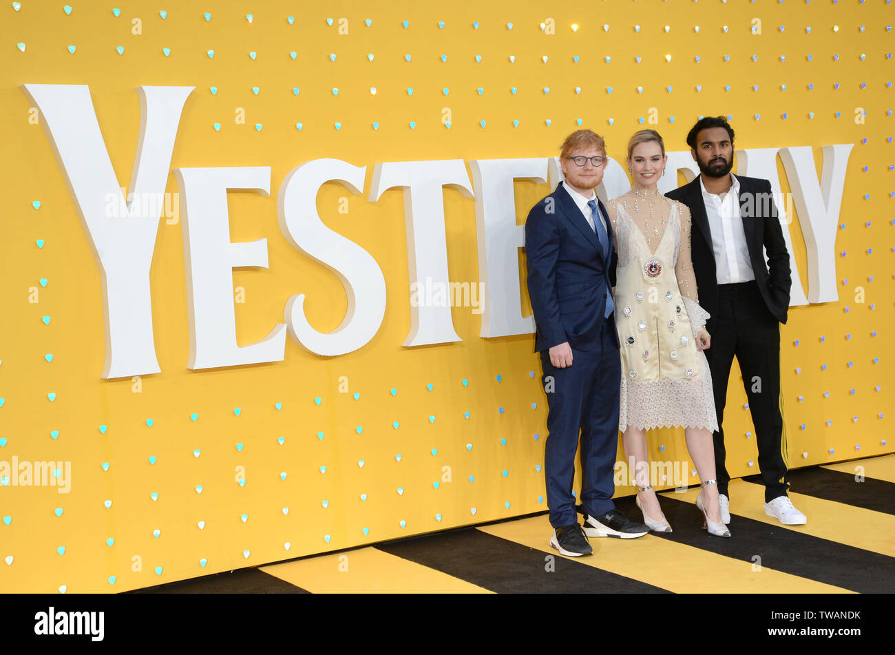 Photo Must Be Credited ©Alpha Press 078237 18/06/2019 Ed Sheeran, Lily James and Himesh Patel at the Yesterday Premiere held at Odeon Luxe Leicester Square in London. - Stock Image