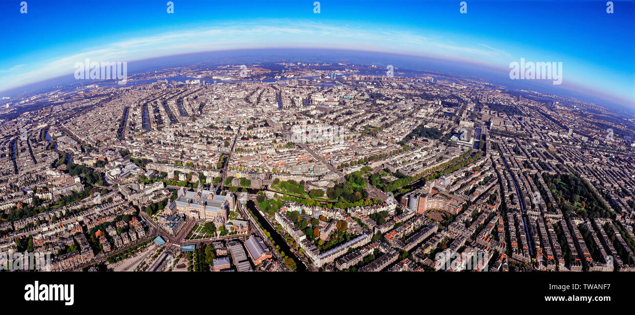 Panorama Aerial of the innercity of Amsterdam with Rijksmuseum, the Netherlands - Stock Image