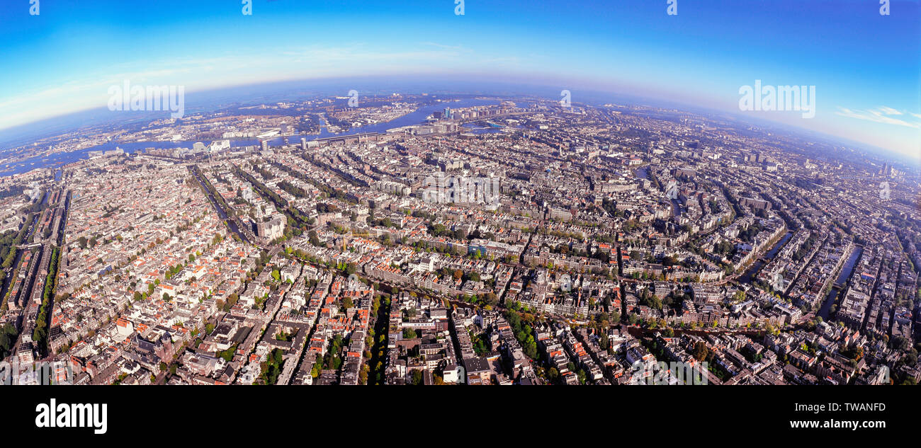 Panorama Aerial of the innercity of Amsterdam, the Netherlands - Stock Image