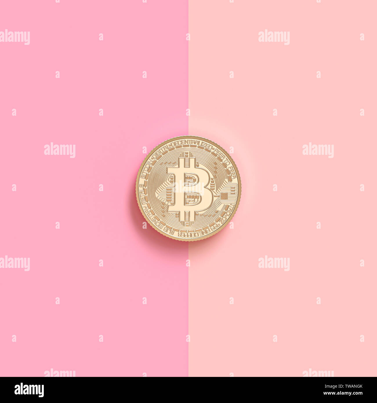 3d render image of a gold bitcoin coin on a pink background in two colors. Blockchain and cryptocurrency concept. - Stock Image