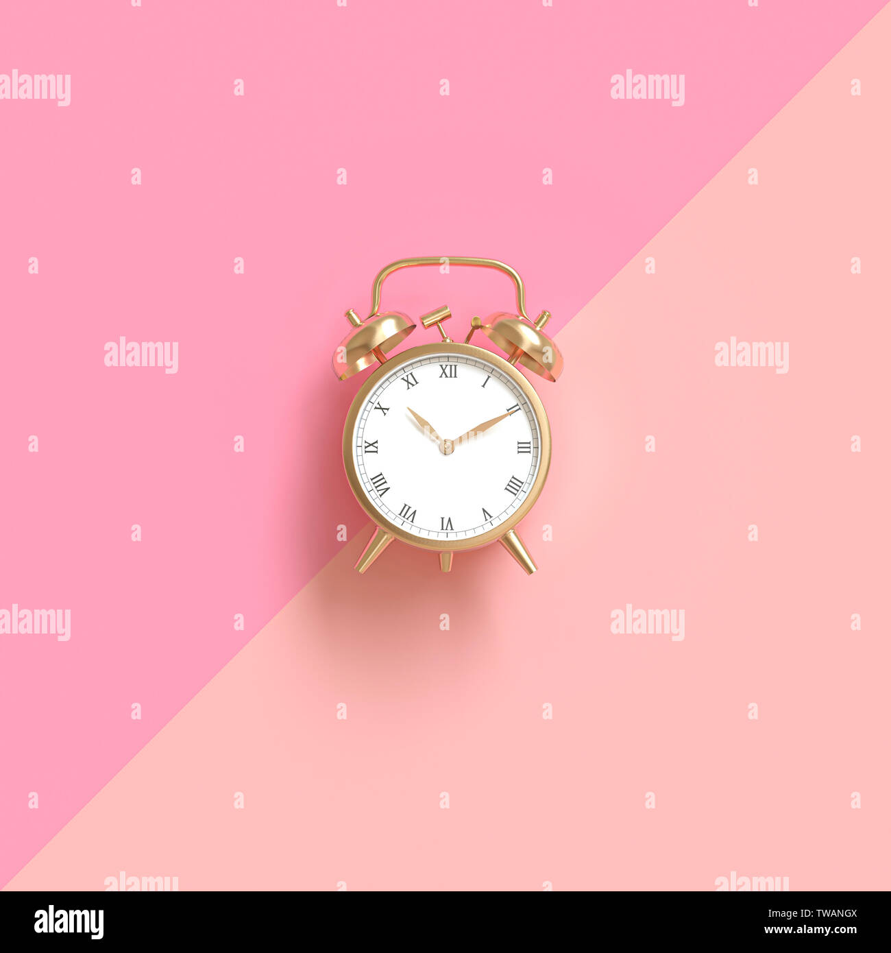 classic gold-colored alarm clock on a two-tone pink background. Flat lay style. 3d image render. - Stock Image