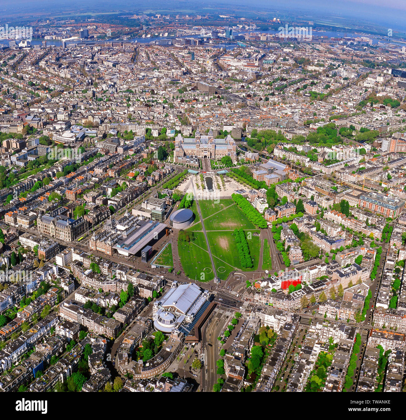 Panorama Aerial of the innercity of Amsterdam with the Rijksmuseum and Concert Building, the Netherlands - Stock Image