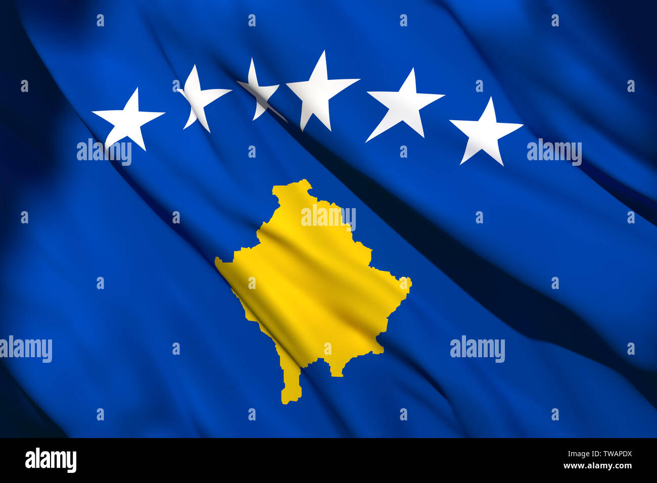 3d rendering of a Kosovo national flag waving Stock Photo