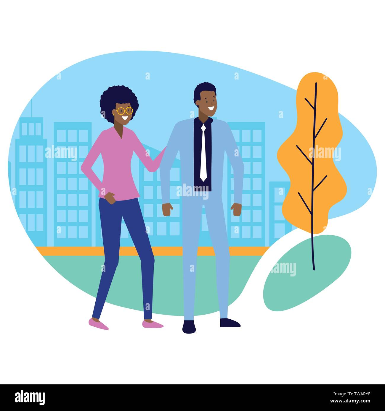 business man and woman city street - Stock Image