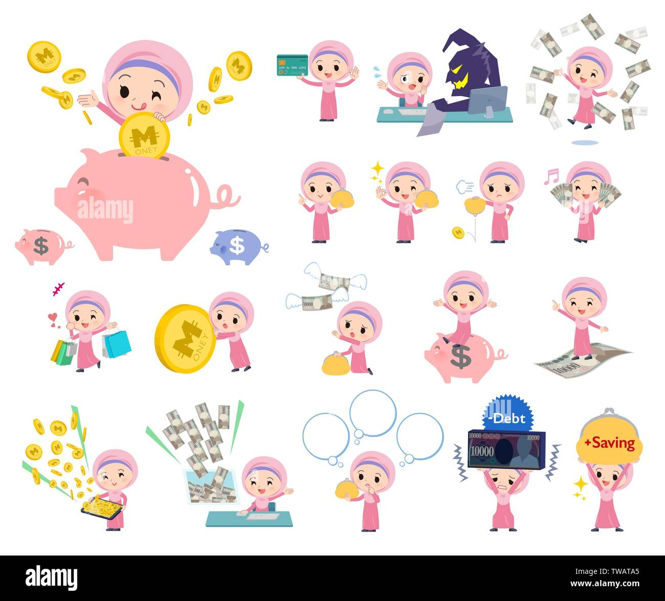 A set of Islamic girl with concerning money and economy.There are also actions on success and failure.It's vector art so it's easy to edit. - Stock Image