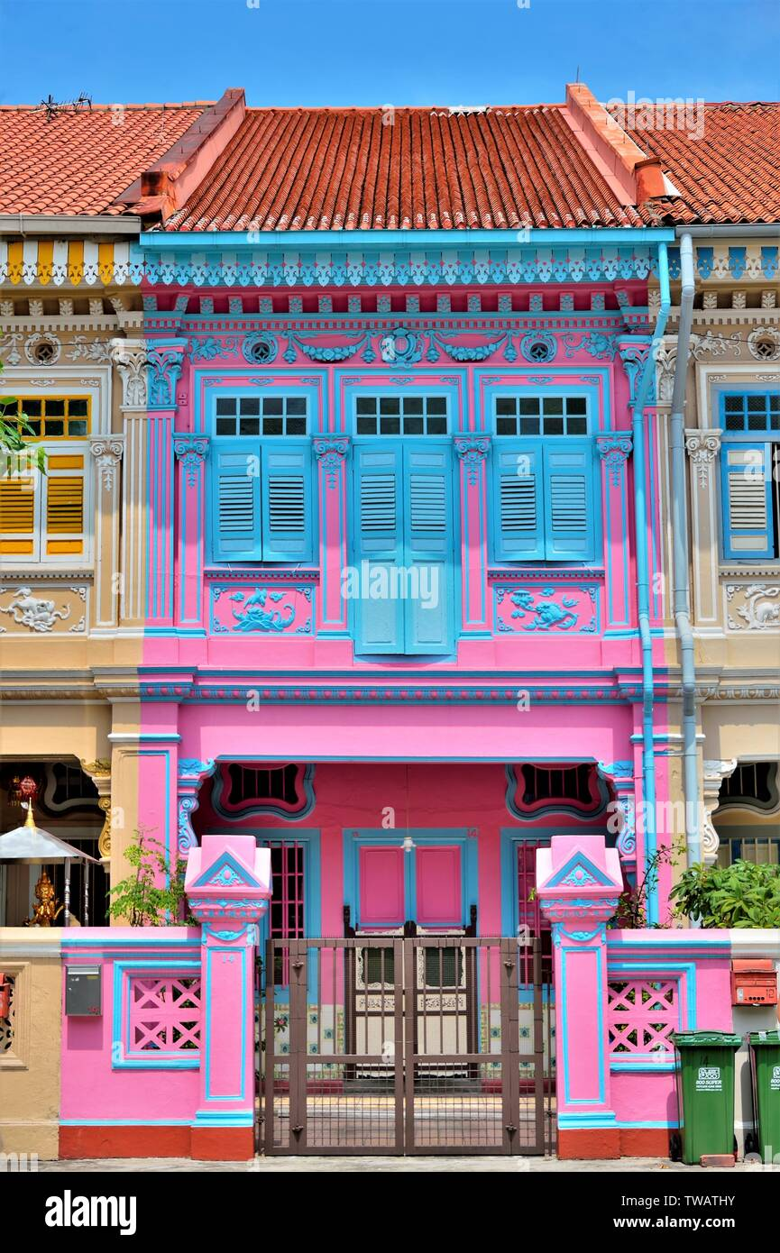 Front view of colourful traditional Singapore Peranakan or Straits Chinese shophouse in historic Joo Chiat East Coast Singapore - Stock Image