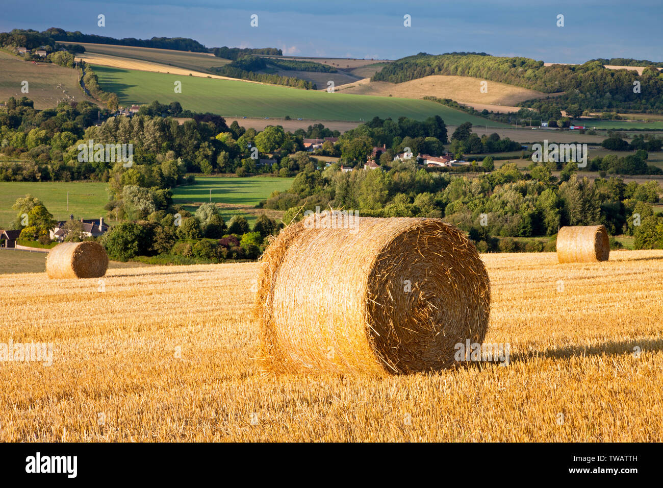 Straw bales on the hill above the villages of Corton and Upton Lovell in the Wylye Valley in Wiltshire. Stock Photo