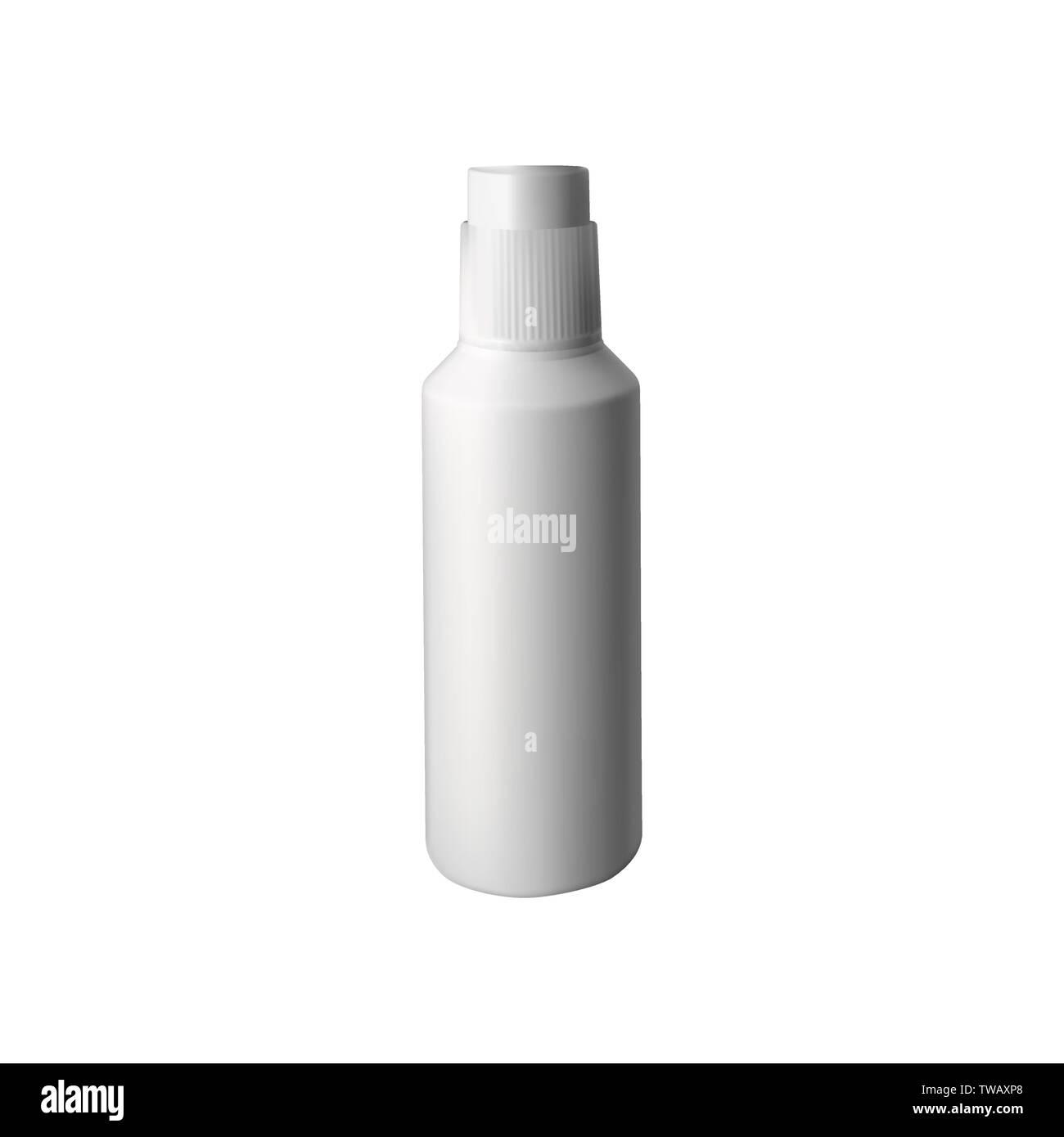 Nasal drops. Plastic white bottle. Vector illustration Stock Vector